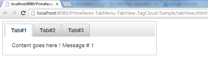 Primefaces TabView - Simple Example - Tab1