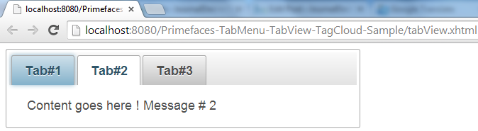Primefaces TabView - Simple Example - Tab2