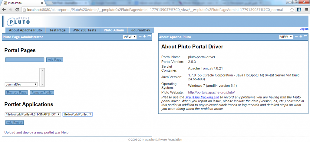 Add HelloWorldPortlet Into JournalDev Pluto Page