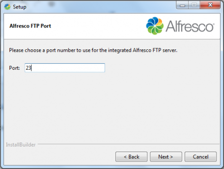 Alfresco - Specify FTP Port Number