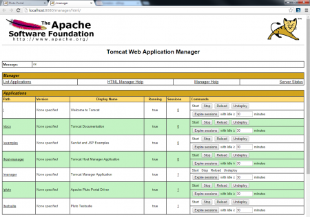 Apache Pluto - Manager Page