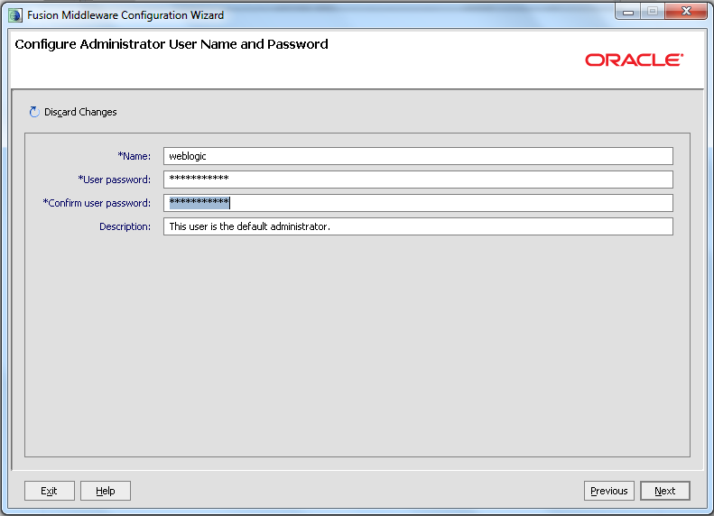 Domain Configuration - Specify Administrator Name And Password
