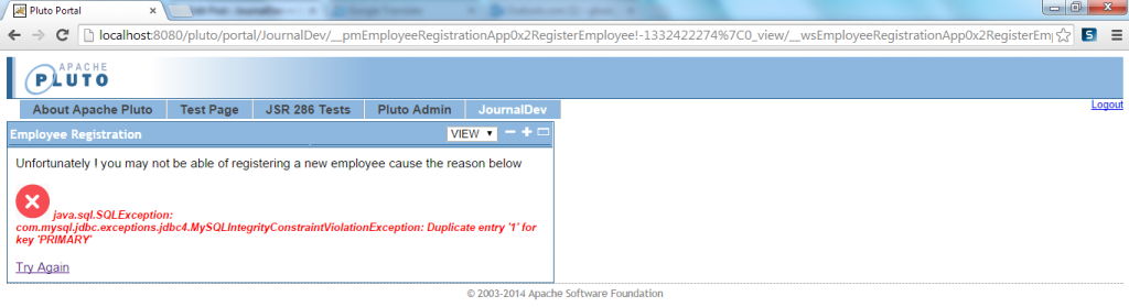 Employee Registration Has Failed