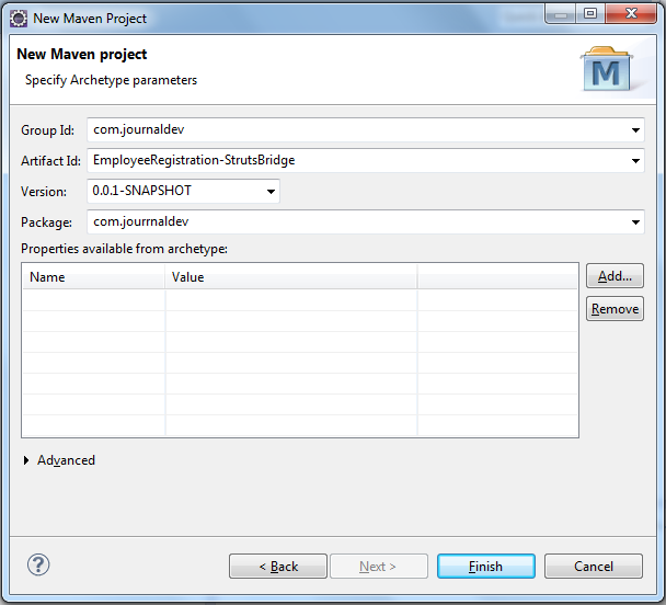 Fill in Maven Project Properties