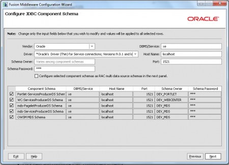 Oracle JDeveloper - Configure JDBC Component