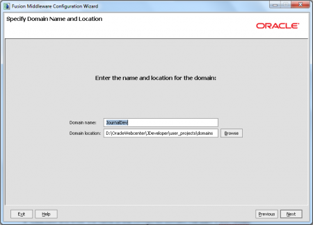 Oracle JDeveloper - Set Domain Name