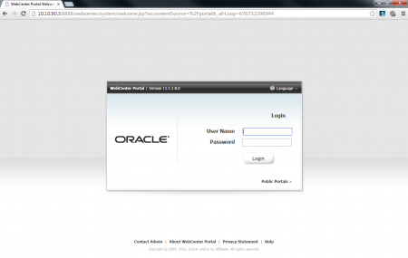 Oracle Webcenter Login Page