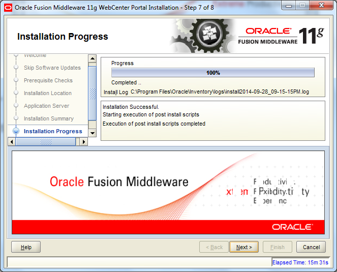 Oracle Webcenter Wizard - Installation Finished