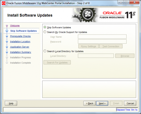 Oracle Webcenter Wizard - Step 2