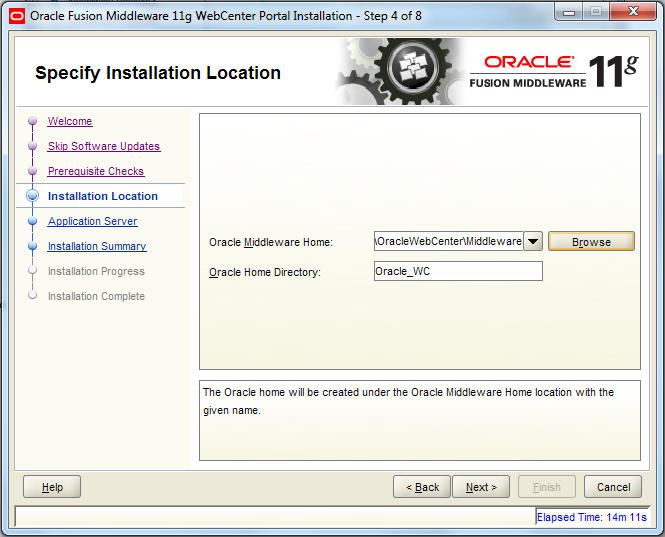 Oracle Webcenter Wizard - Step 4