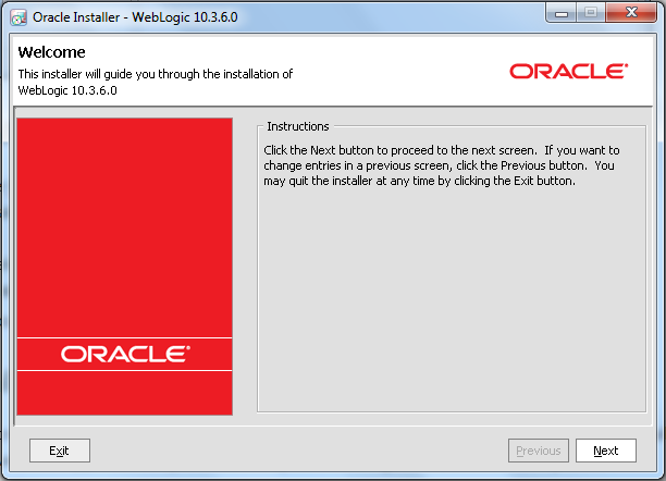 Oracle Weblogic Middleware - Initial Wizard