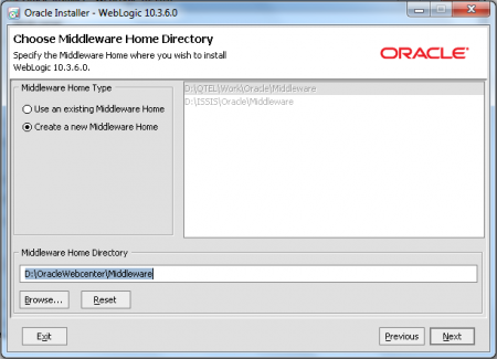 Oracle Weblogic Middleware - Specify Home Directory