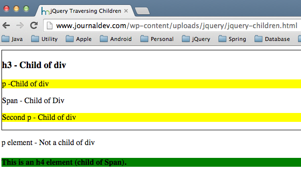 jQuery parent() and children() tree traversal functions