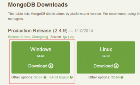 MongoDB for Windows Downloads Options