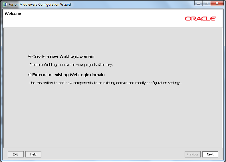 Create New Weblogic Domain