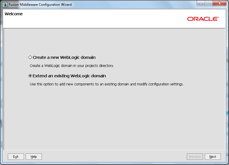 Extend Oracle Webcenter Portal Domain - Select Extend Option