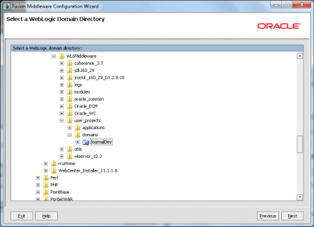 Extend Oracle Webcenter Portal Domain - Specify Domain