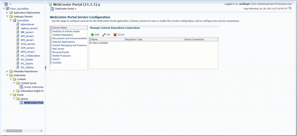 Oracle Webcenter Content Connections Table