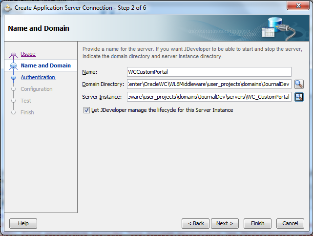 Create Connection - Filling In WC_CustomPortal Managed Server Information