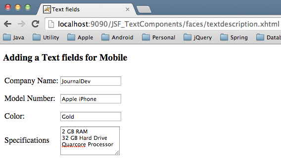 JSF Text Components - Label, Text Field, Text Area and Password