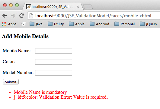JSF Validation Example Tutorial - validator tag, Custom
