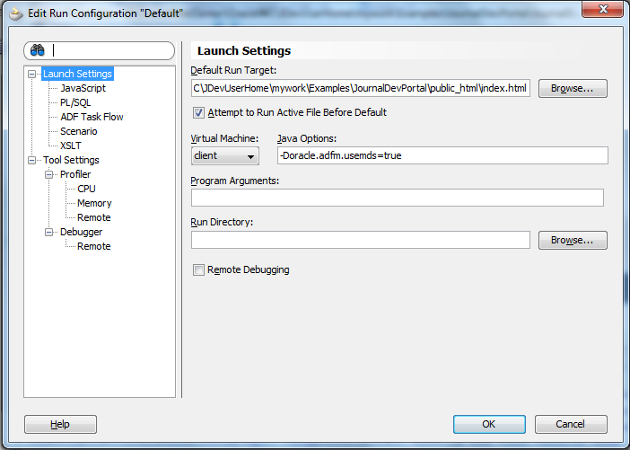 JournalDevPortal - Launch Settings - Default Run Target