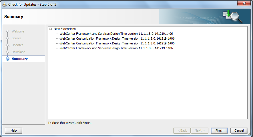 Update JDeveloper With Oracle WebCenter Extensions - Before Finish View