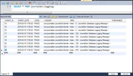 Logging Table - Log Events Populated With Filter Applying
