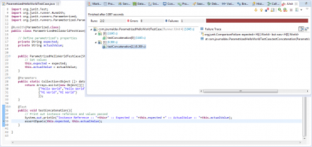 Execution Result - Parametrized Test Data - Second AssertEquals Is Failed
