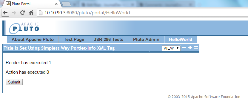 JWebUnit - Accessing HelloWorld Portal Page - Showing HelloWorldPortlet