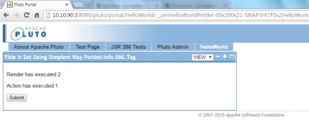 JWebUnit - Accessing HelloWorld Portal Page - Submitting HelloWorldPortlet