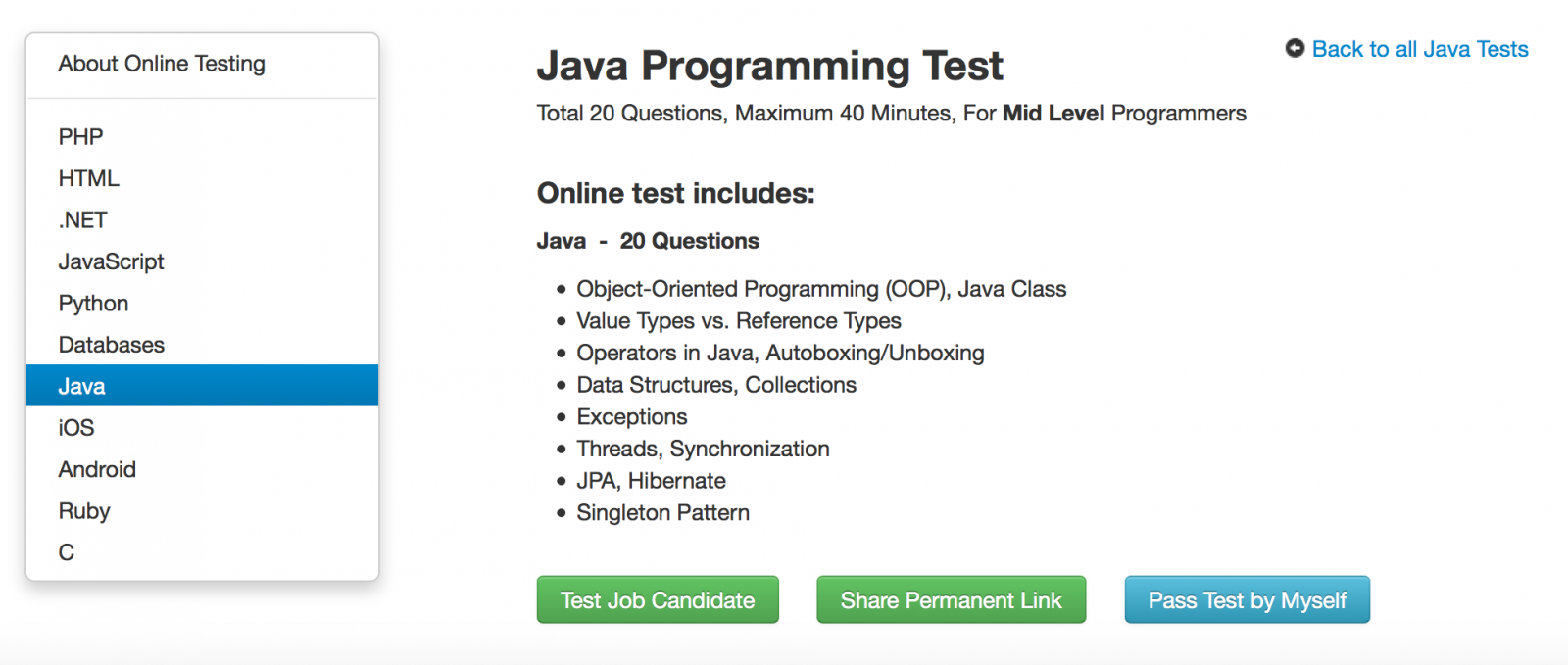 java programming test to help you assess job candidates journaldev now click on the test job candidate and in next page provide the candidate and click on create the link button this will bring you below page