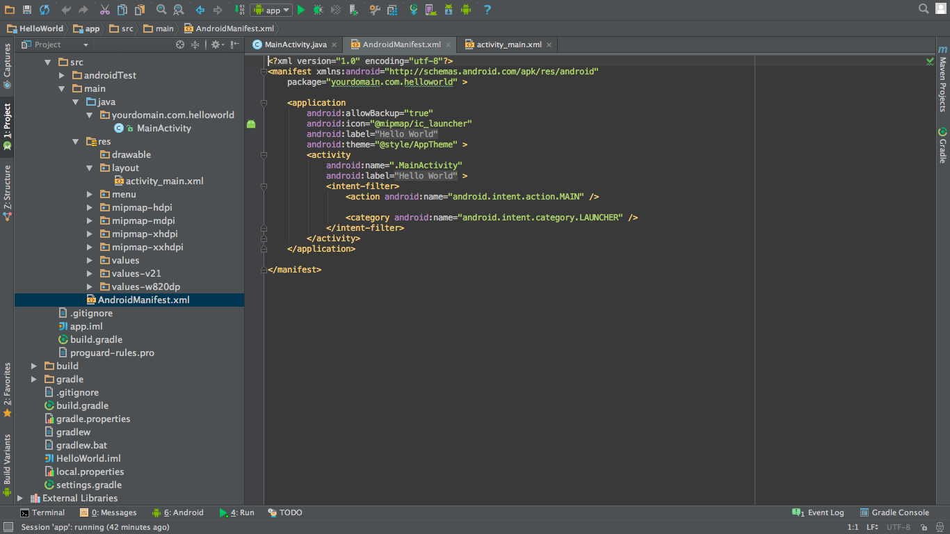android hello world app AndroidManifest.xml file