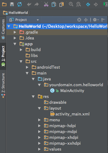android studio hello world app project structure