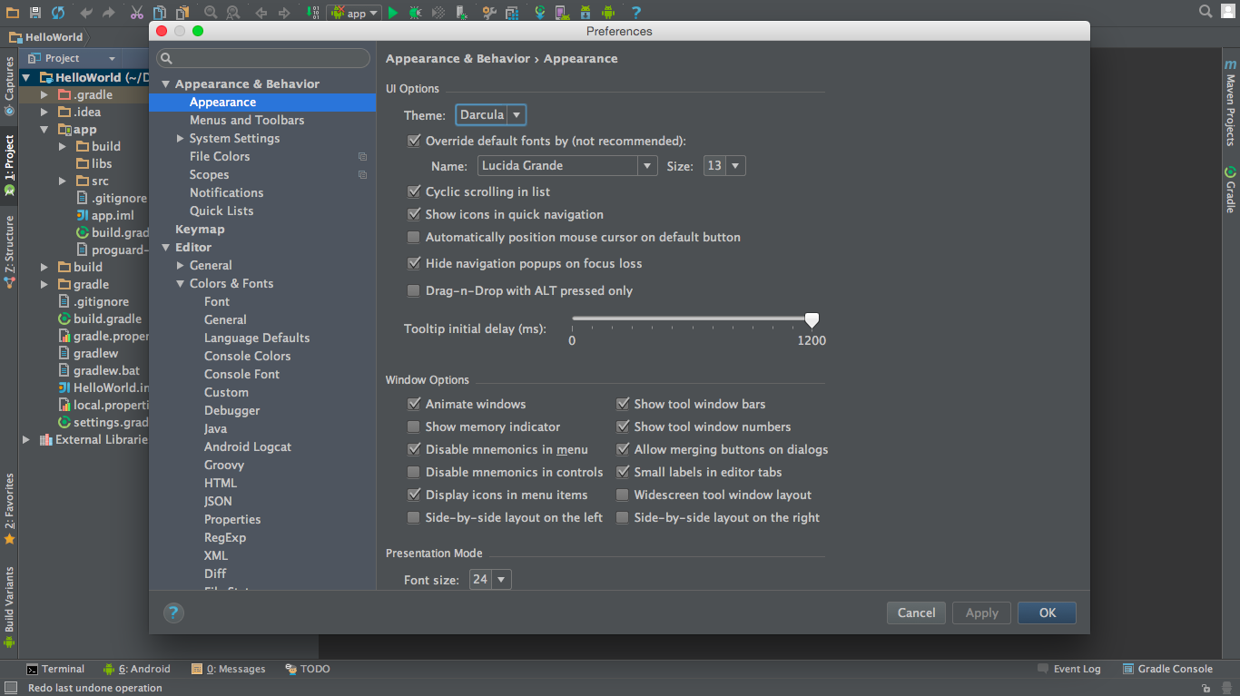 android studio dracula theme settings