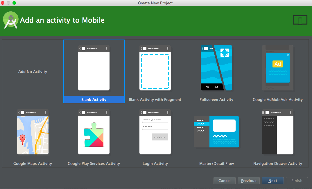 android studio tutorial select activity