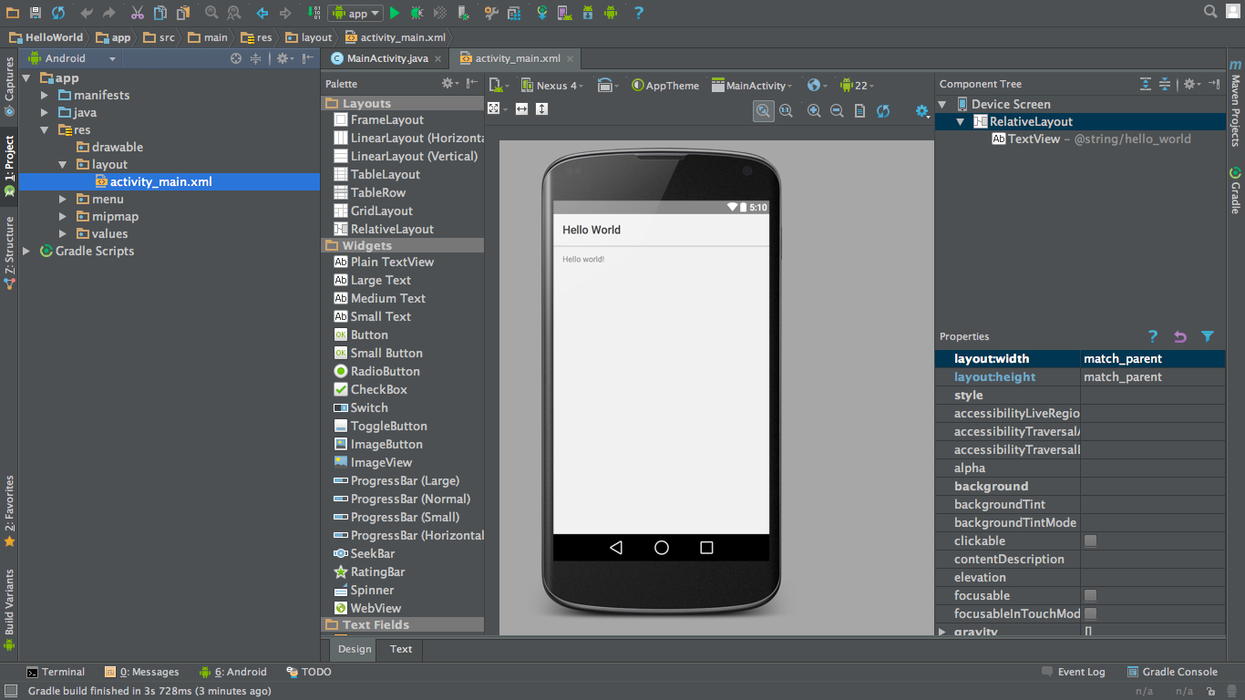 Android Studio Tutorial Hello World App Journaldev
