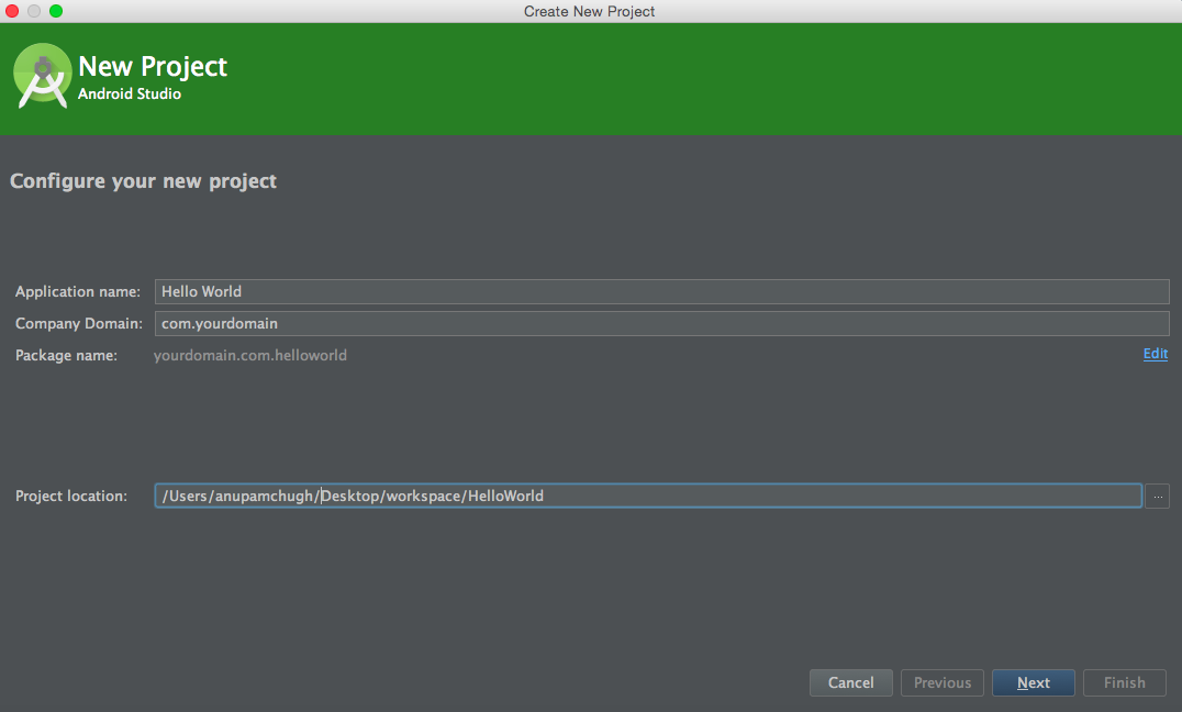 android studio tutorial create new project