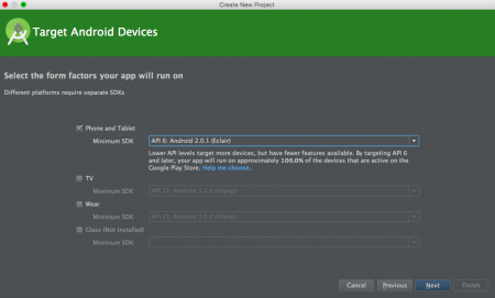 android studio new project sdk selection