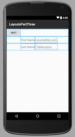 android-layout-table-output