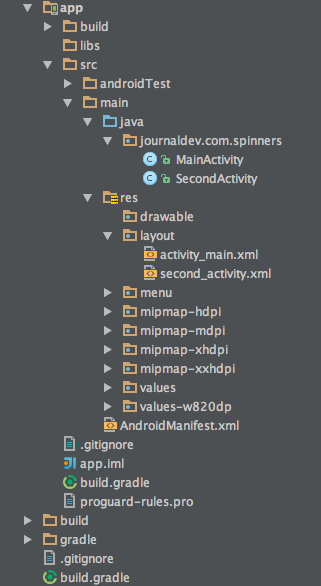 android spinner example, android drop down list