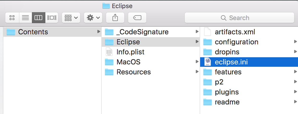 eclipse.ini file, eclipse.ini file location mac