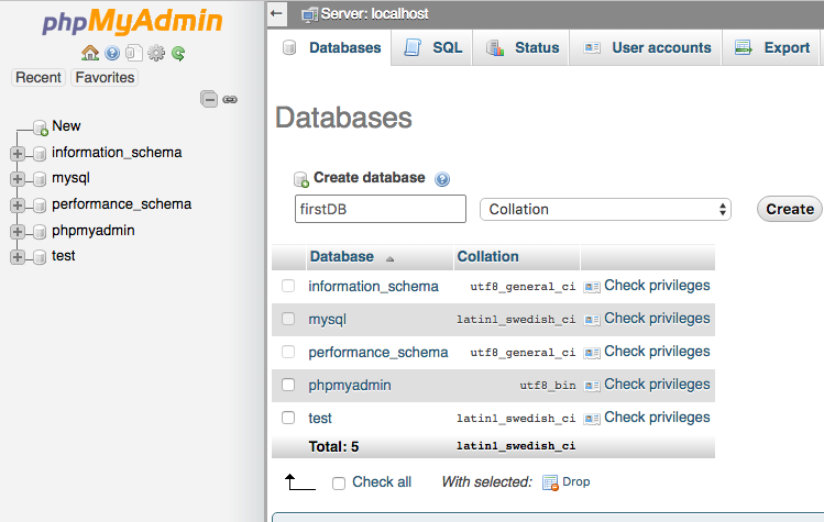 android phpmyadmin database create