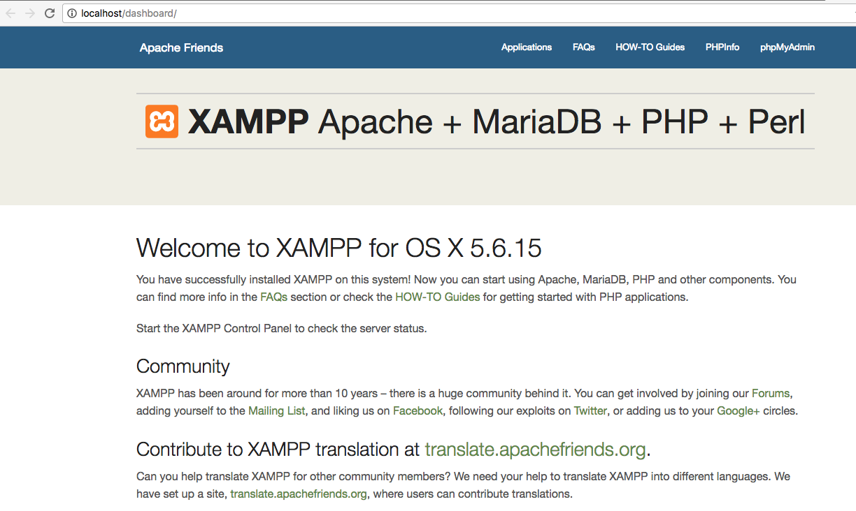android xampp dashboard