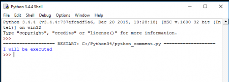 python comment example output