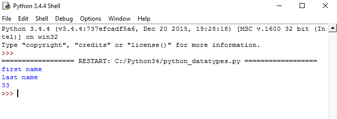 Python Data Type - python dictionary example output