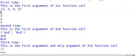 Showing the output of function with unspecied number of arguments