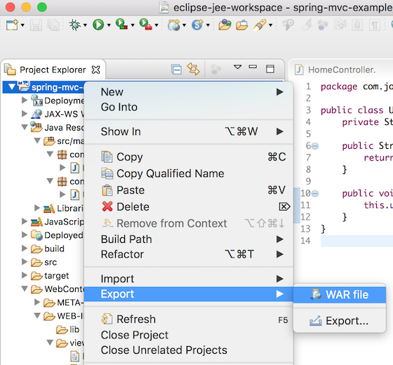 eclipse maven project export as war file