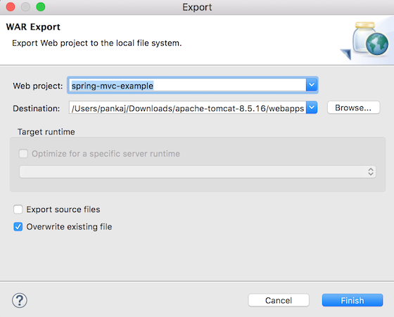 eclipse project export to tomcat webapps directory