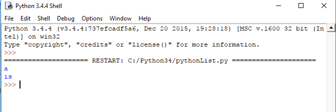 python list example, accessing a list with negative index